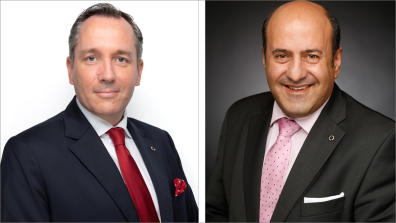 Siegfried Nierhaus (l.) ist neuer Vice President Middle East, Fotis Fakes (r.) wird zum Senior Director Operations & Commercial International Resort Hotels befördert